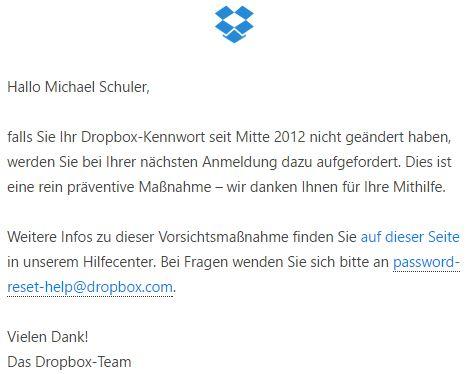 E-Mail von Dropbox